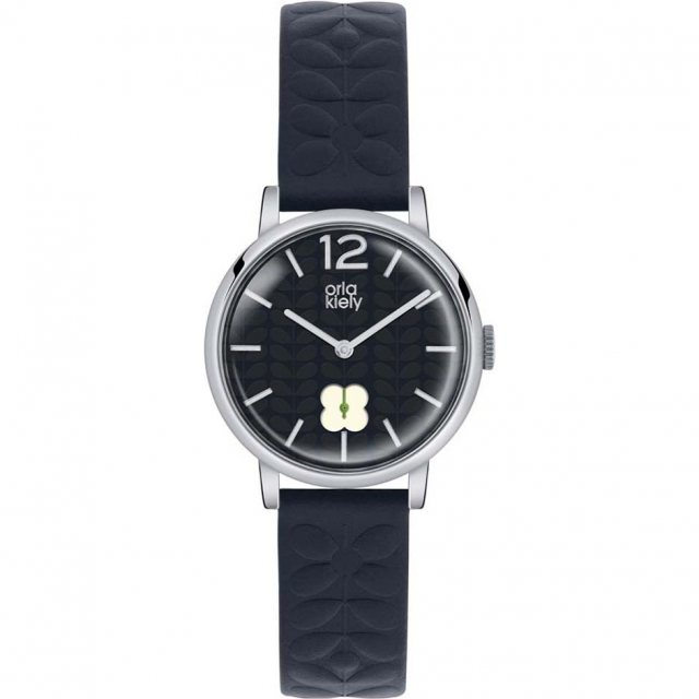 Orla Kiely Orla Kiely Frankie Navy Leather Strap Watch