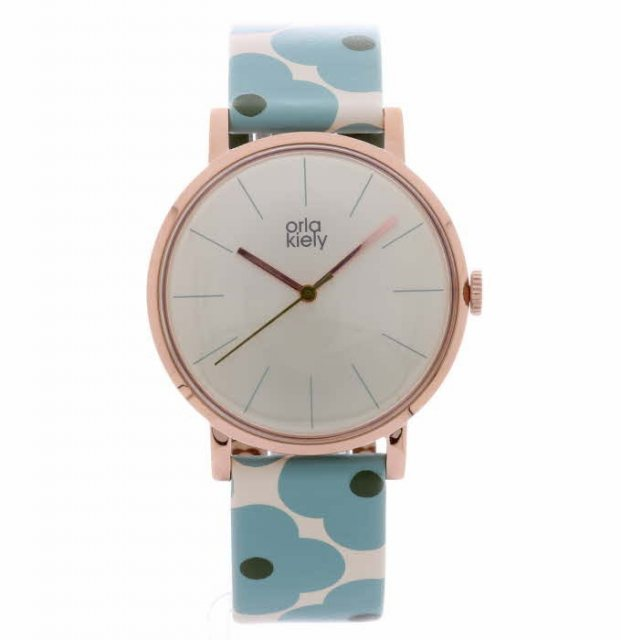 Orla Kiely Orla Kiely Patricia Blue Flowery Leather Strap Watch
