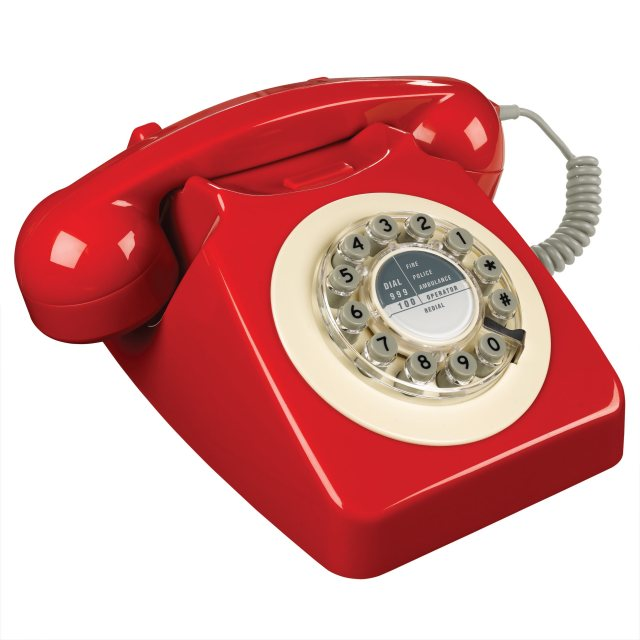 Wild & Wolf 1960's 746 Desk Phone - Phone Box Red