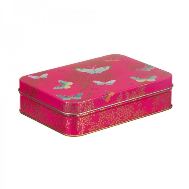 Sara Miller London Sara Miller Small Rectangular Pink Butterfly Tin