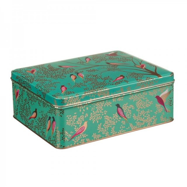 Sara Miller London Sara Miller Deep Rectangular Green Birds Tin