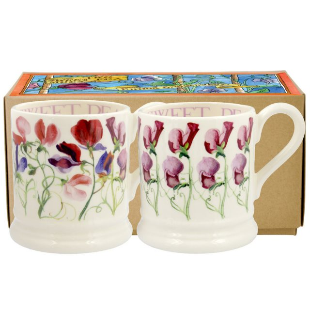 Emma Bridgewater Emma Bridgewater Sweet Pea Flower Set of 2 1/2pt Mugs