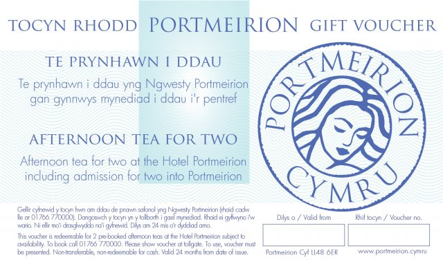 Portmeirion Cymru Afternoon Tea For 2 Including Free Entry Portmeirion Gift Voucher