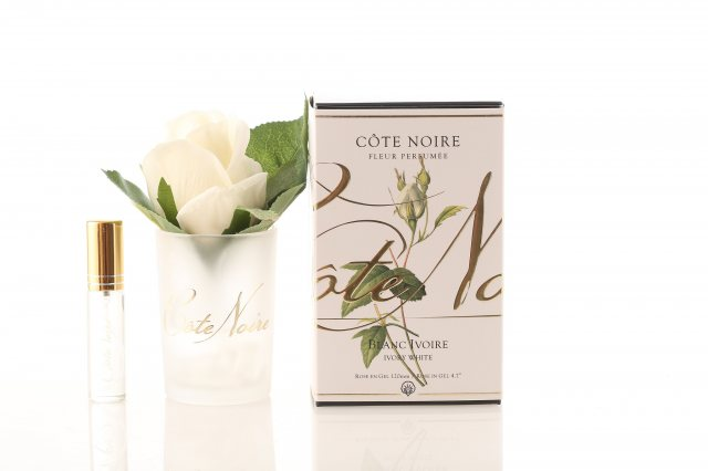 Cote Noire Cote Noire Perfumed Natural Touch Ivory White Rose Buds in Frost Glass
