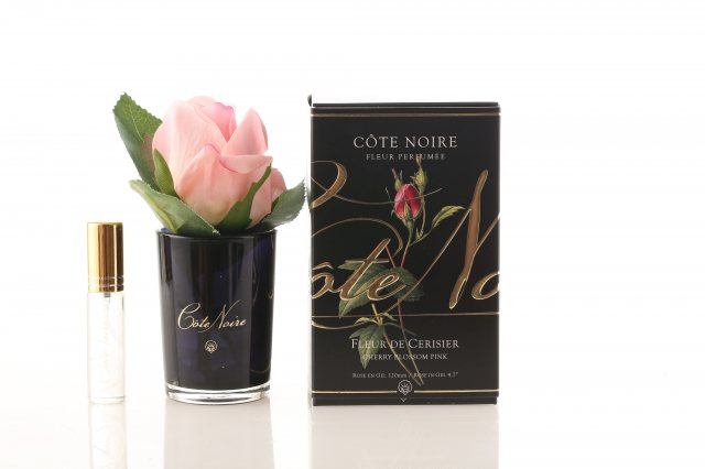 Cote Noire Cote Noire Perfumed Natural Touch Cherry Blossom Pink Rose Buds in Black Glass