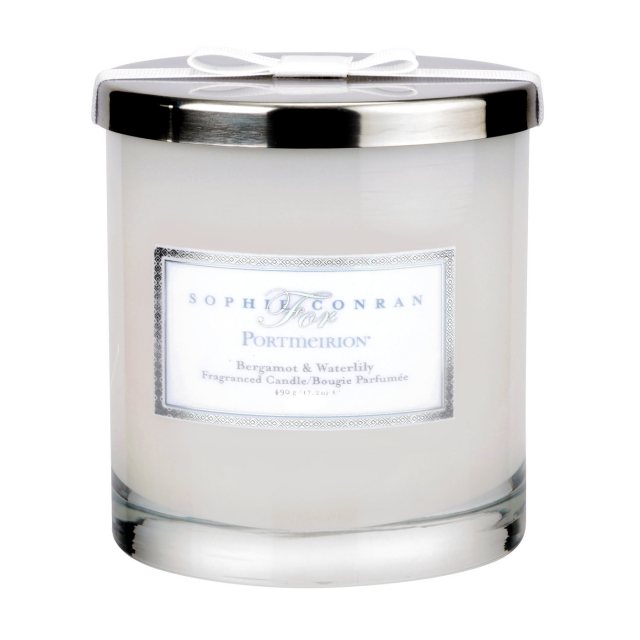 Sophie Conran Sophie Conran for Portmeirion Bergamot & Water Lily 2 Wick Wax Filled Glass with Silver Lid