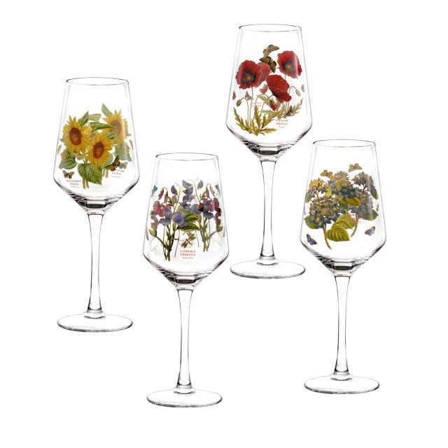 Portmeirion Botanic Garden Wine Glasses Set of 4 Assorted Motifs