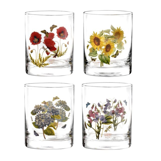 Portmeirion Botanic Garden Double Old Fashioned Tumblers Set of 4 Assorted Motifs