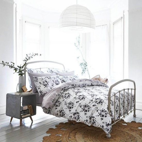 Turner Bianca Turner Bianca Sprig Cotton Print Grey Single Duvet