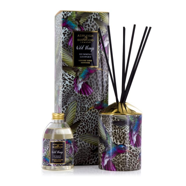 Ashleigh & Burwood London Wild Things Humming Leopard Black Raspberry Luxury Diffuser