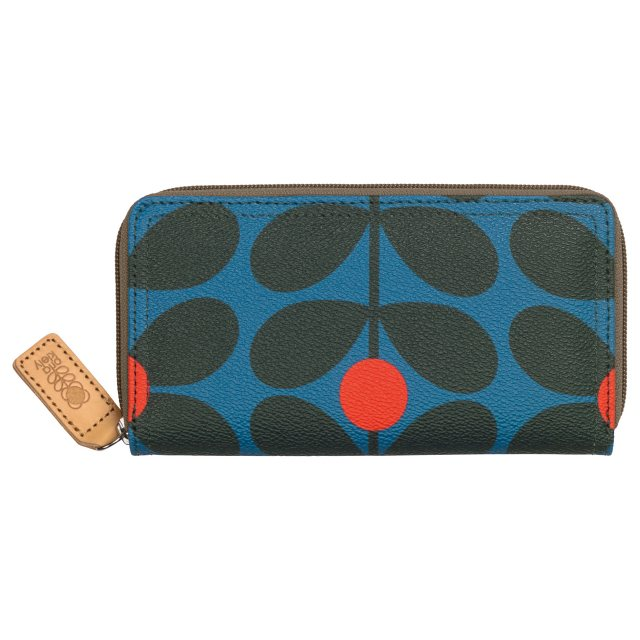 Orla Kiely Orla Kiely Sixties Stem Big Zip Wallet - Kingfisher