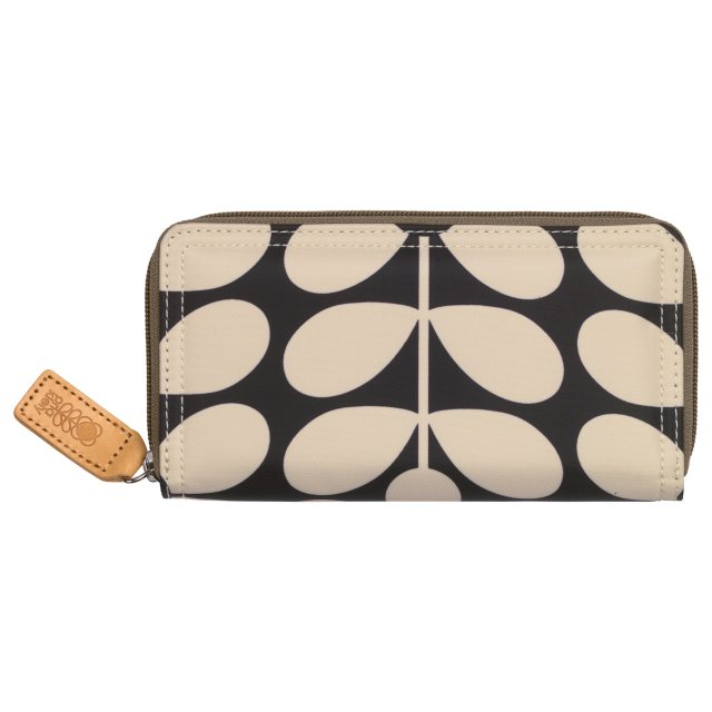 Orla Kiely Orla Kiely Sixties Stem Big Zip Wallet - Charcoal Blue