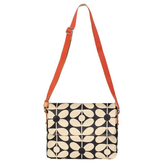 Orla Kiely Orla Kiely Sixties Stem Medium Messenger Bag - Charcoal Blue