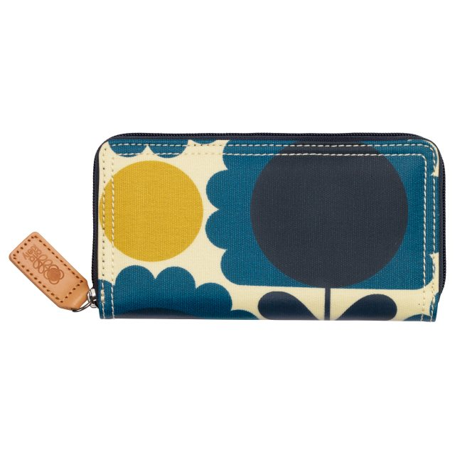 Orla Kiely Orla Kiely Scallop Flower Spot Big Zip Wallet - Denim