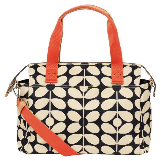 Orla Kiely Orla Kiely Sixties Stem Zip Messenger Baby Bag - Charcoal Blue