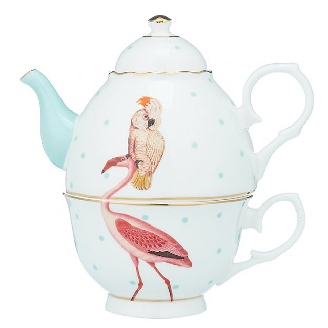 Yvonne Ellen Yvonne Ellen Parrot and Flamingo Tea For One Teapot
