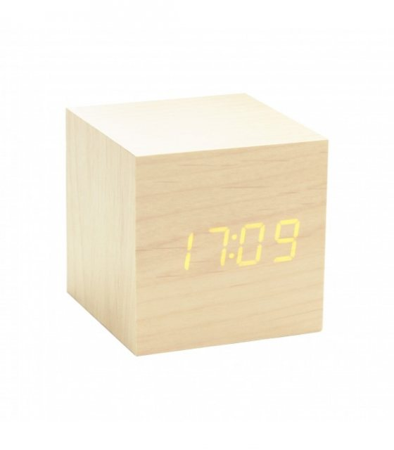 Gingko Gingko Cube Click Clock - Maple