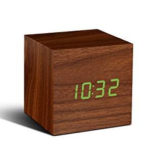 Gingko Gingko Cube Click Clock - Walnut