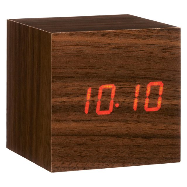 Gingko Gingko Cube Click Clock - Walnut with Red LED