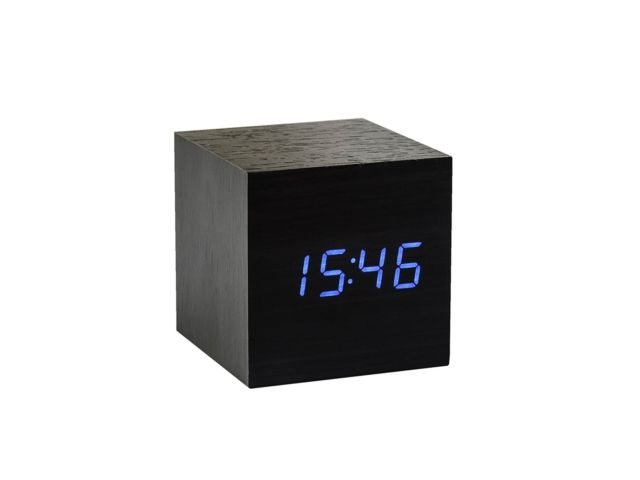 Gingko Gingko Cube Click Clock - Black with Blue LED
