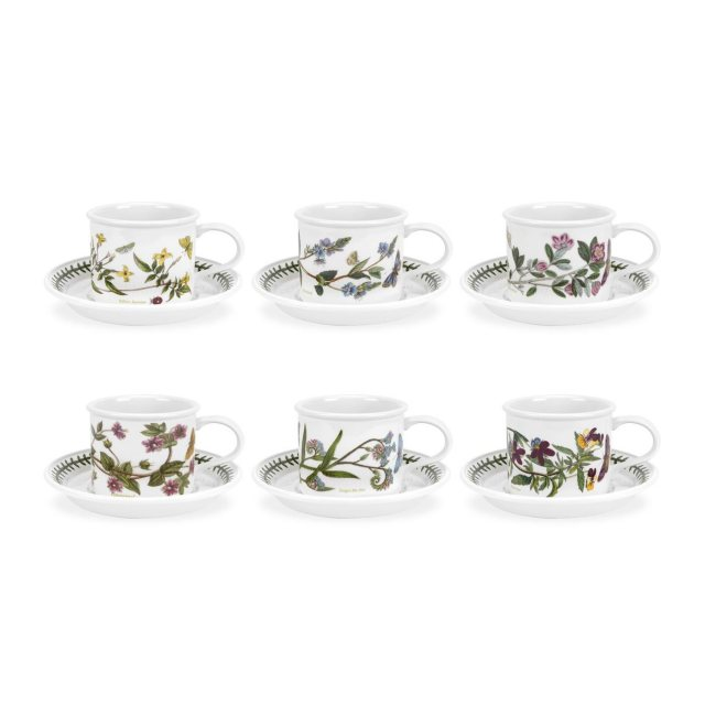 Portmeirion Botanic Garden Tea Cup and Saucer Set of 6