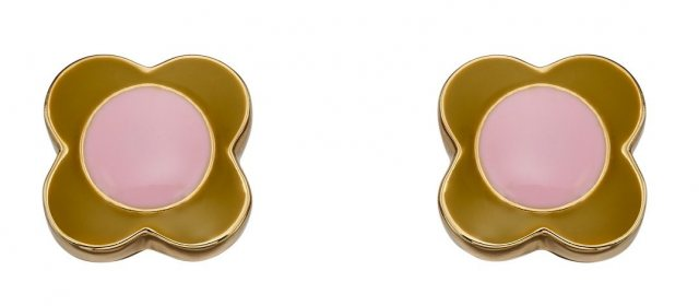 Orla Kiely Orla Kiely Gold Plated Pink & Green Flower Earring