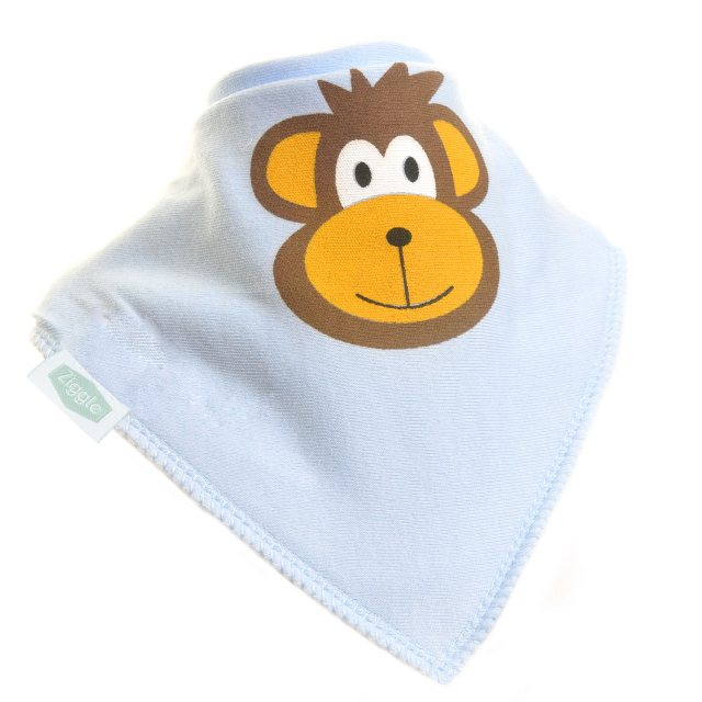 Ziggle Ziggle Bandana Dribble Bib Monkey Light Blue