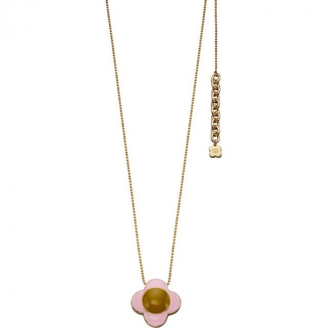 Orla Kiely OK Gold Pink/Green Enamel Flower Drop Necklace