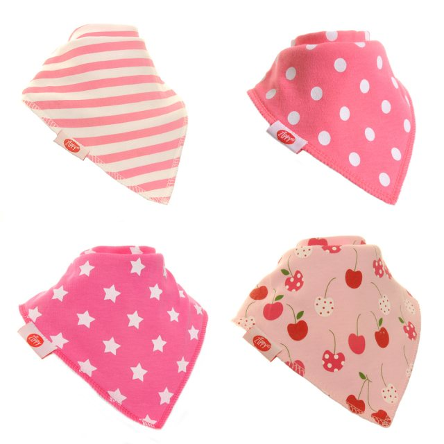 Zippybibs  Zippy Baby Bandana Dribble Bib 4 pack Pretty Pinks