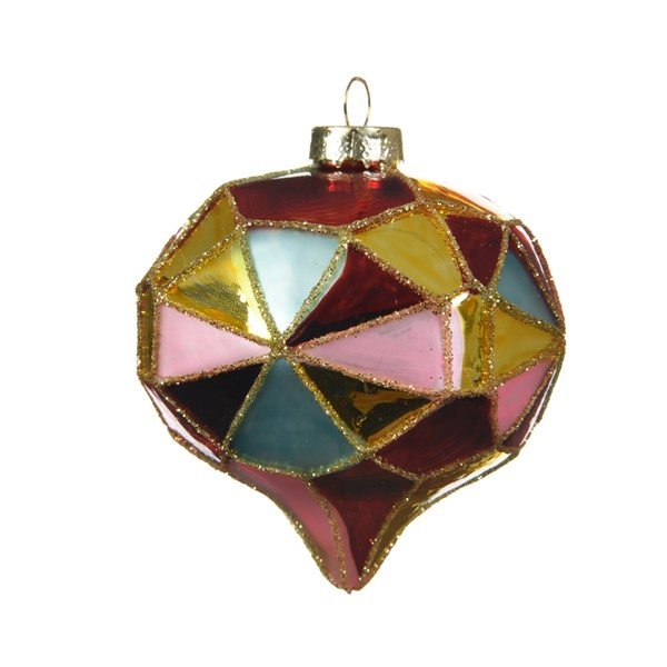 Union Diamond Cut Multi Coloured Glass Bauble Set of 2