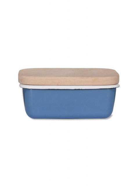 Garden Trading Enamel Butter Dish With Wooden Lid in Dorset Blue