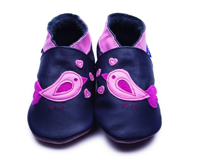 Inch Blue Navy Bird d'amour Shoes 6-12 Months