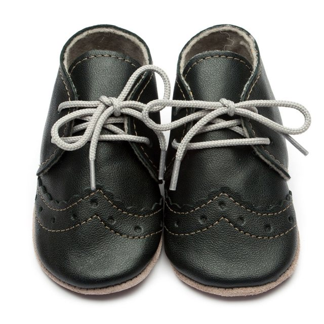 Inch Blue Hector Black Lace Up Shoes 6-12 Months