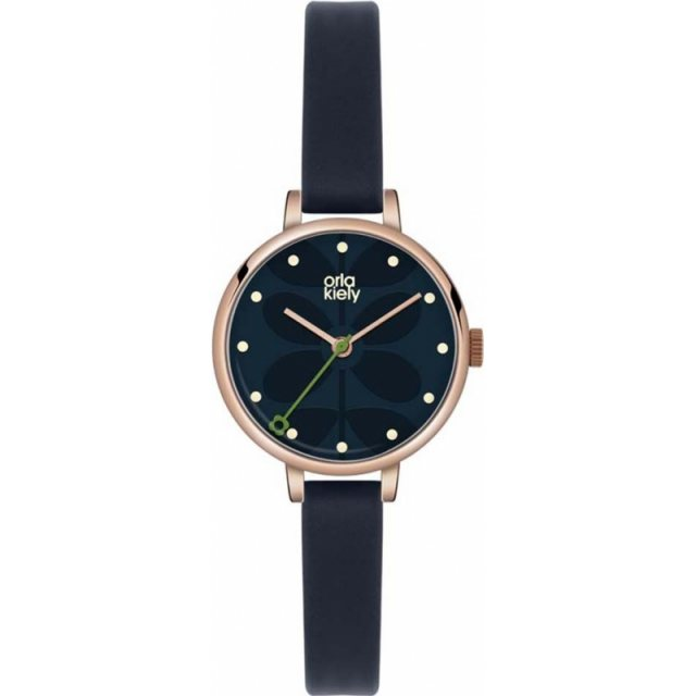 Orla Kiely Orla Kiely Ivy Navy Leather Strap Watch