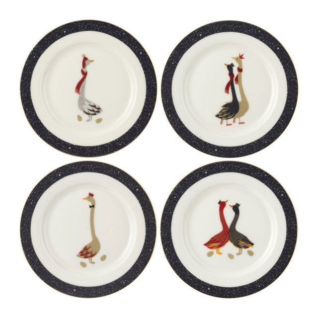 Sara Miller London Sara Miller London Geese Christmas Collection Cake Plates set of 4