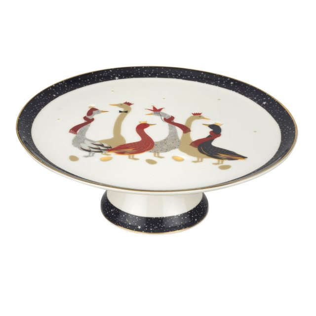 Sara Miller London Sara Miller London Geese Christmas Collection Footed Cake Plate