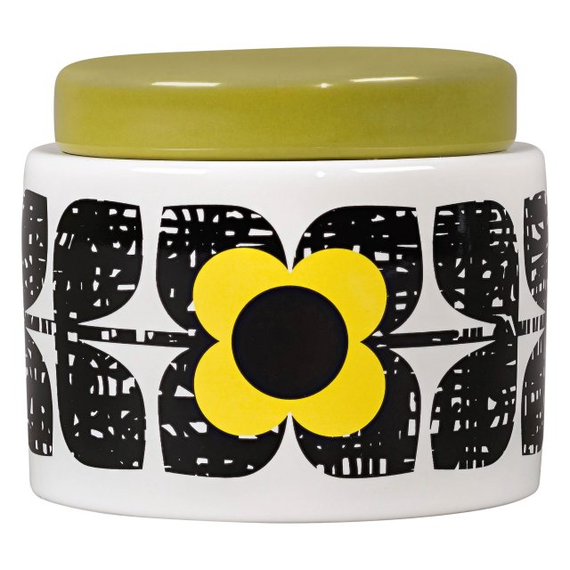 Orla Kiely OK Small Storage Jar Scribble Square Flower Sunshi