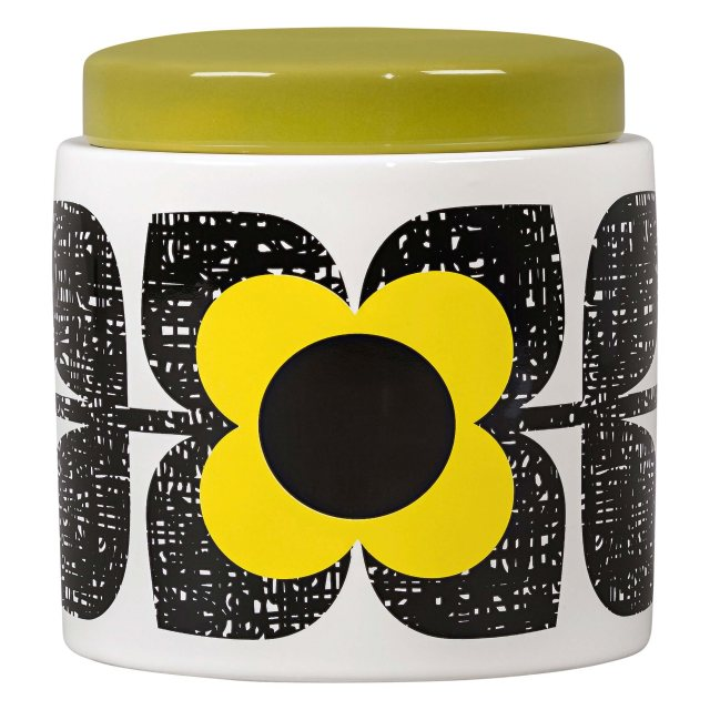 Orla Kiely Orla Kiely Large Scribble Square Flower Storage Jar - Sunshine