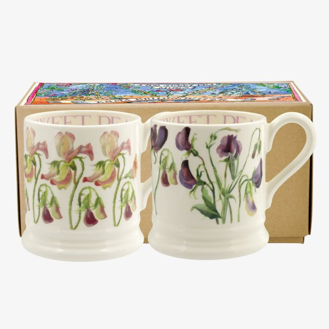 Emma Bridgewater Emma Bridgewater Sweet Peas Set of 2 1/2 Pint Mugs