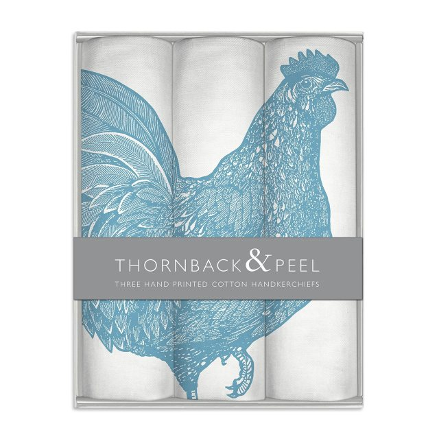 Thornback & Peel Blue Chicken Handkerchief Box
