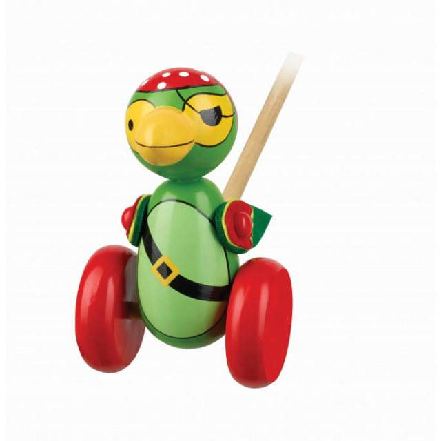 Orange Tree Pirate Parrot Wooden Push Along Boxed