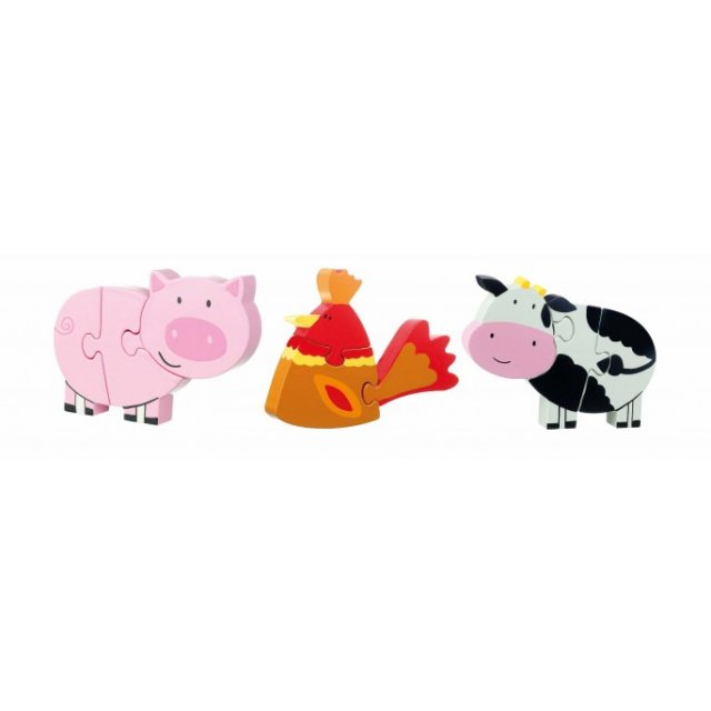 Orange Tree Farm Yard Wooden Mini Puzzle Set